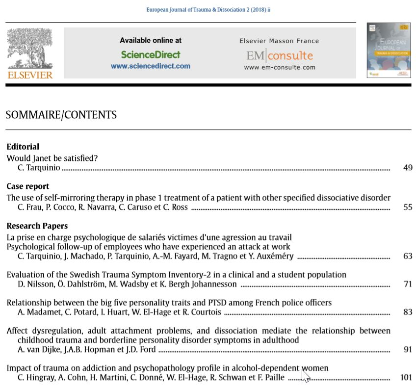 European Journal of Trauma & Dissociation - ESTD - Table of Contents