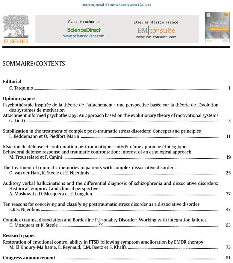 European Journal of Trauma and Dissociation - ESTD - Table of COntent