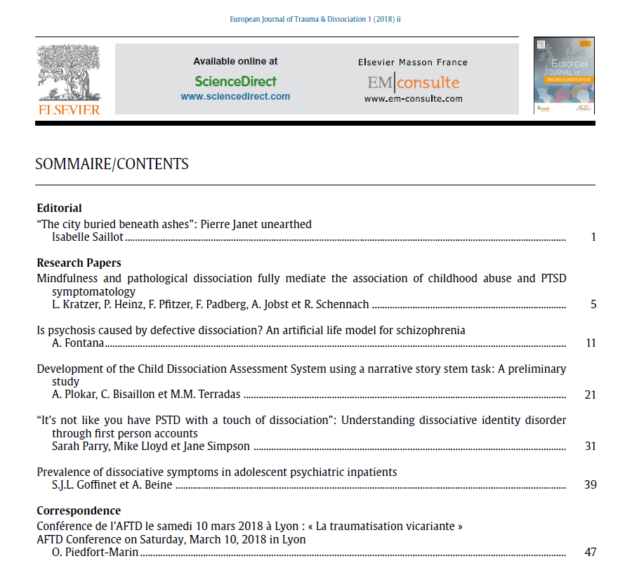 European Journal of Trauma and Dissociation - ESTD - Table of Contents