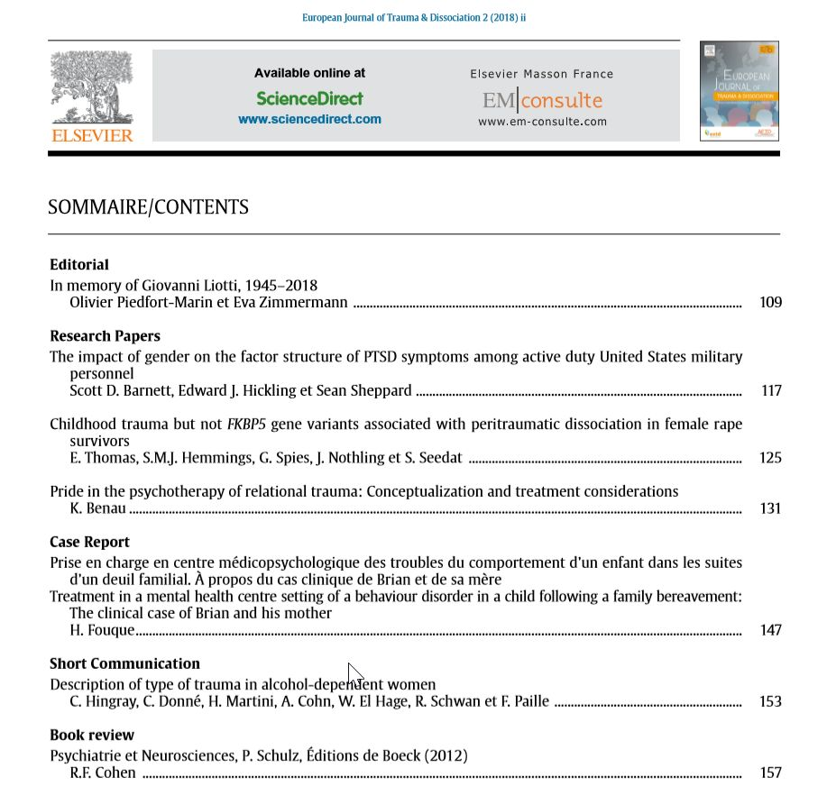 European Journal of Trauma & Dissociation - July 2018 - Table of Content