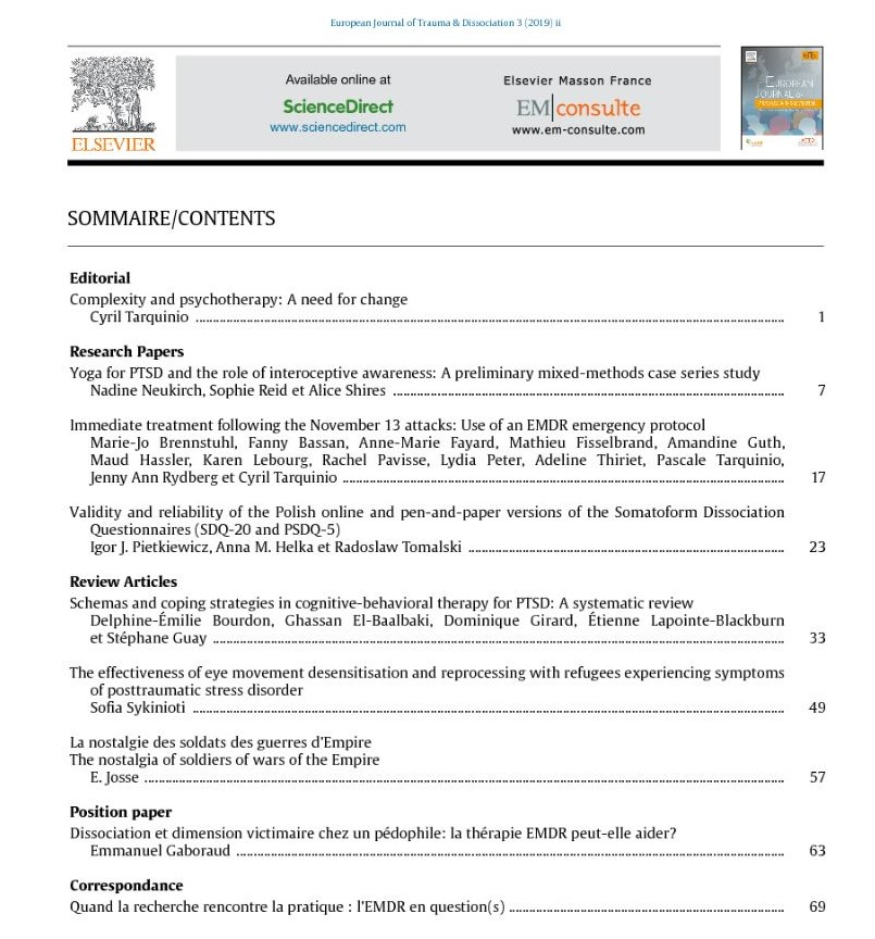European Journal of Trauma & Dissociation - March 2019 - Table of Content
